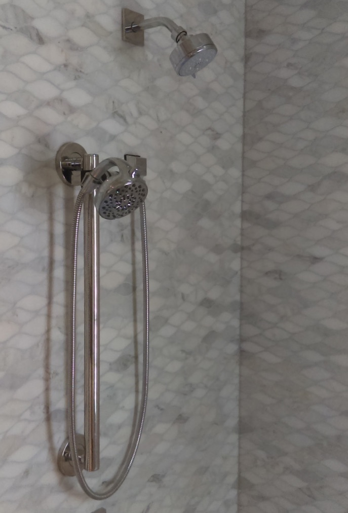 stone wave mosaic shower