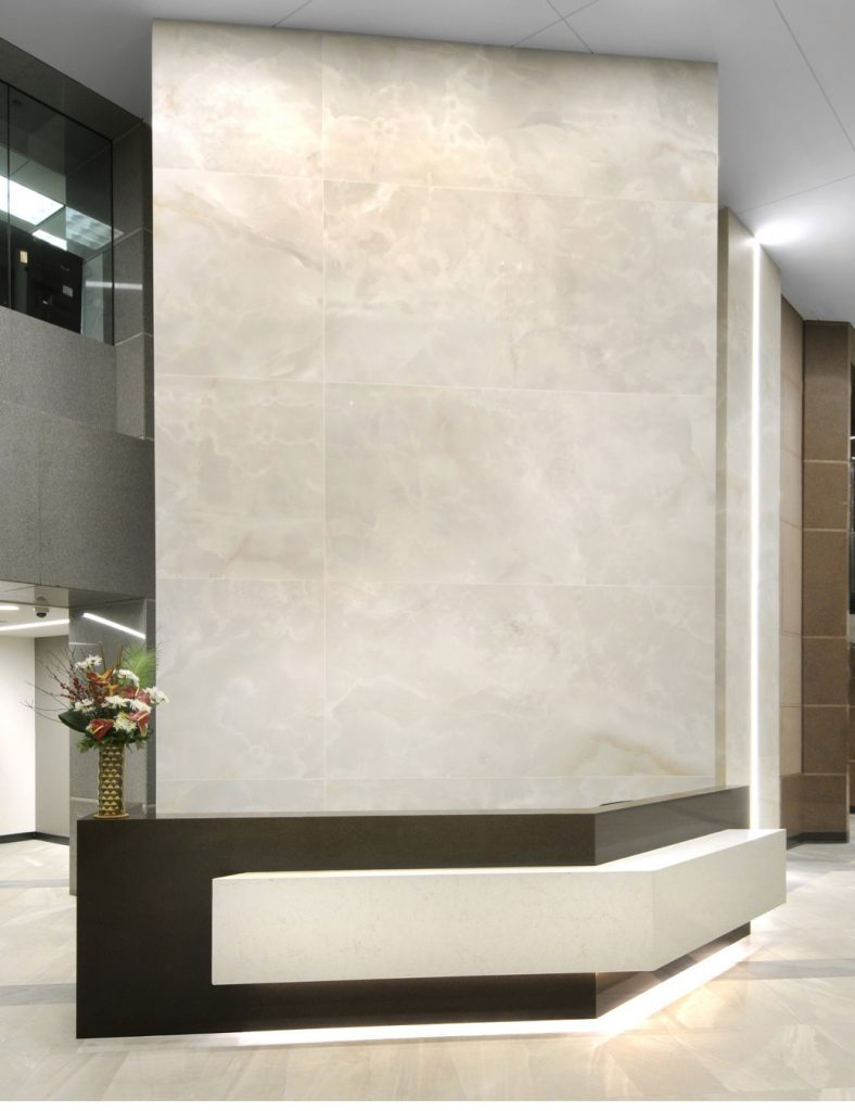 Close-up of the completed 7000 Central Park office tower lobby installations.