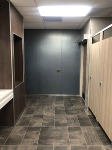 Newly remodeled Kent State University women's restroom with GPTP.