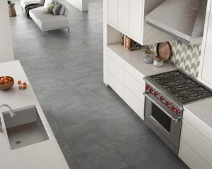 square floor tile in taupe
