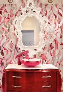 Photo of vanity with mosaic Pumarejo chose from Allison Eden Studios.