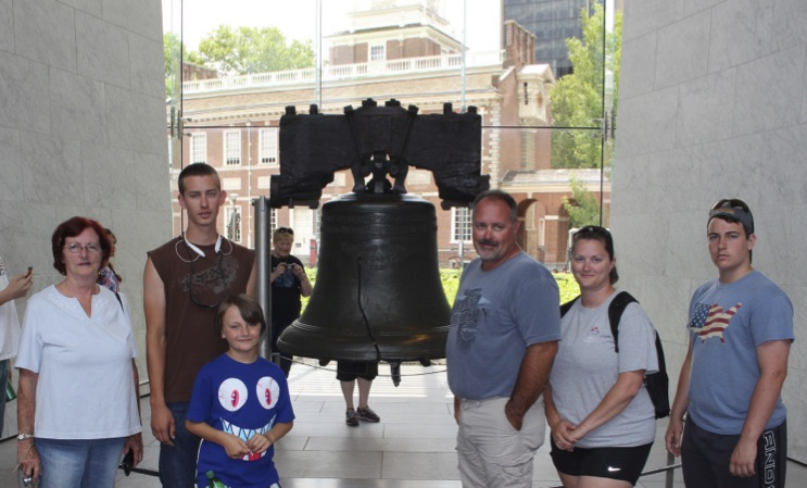Brown family at the Liberty Bell in Philadelphia.