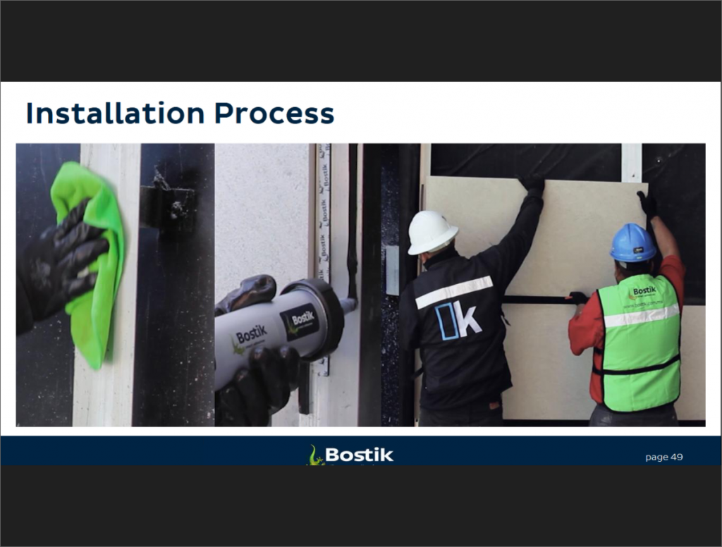 slide from presentation showing installation using new Panel Tack system