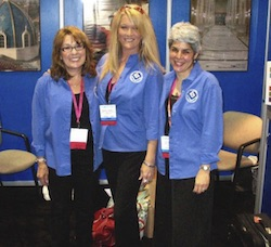 Working the Coverings booth in Orlando, Fla., (l. to r.) Mary Shaw-Olson, Advertising Sales; Michelle Chapman, Art Director; and Lesley Goddin, Editor.