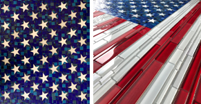 Parts of the American flag made of glass