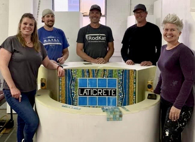 LATICRETE Fountain project with (l. to r.) Angie Halford Ré, Mark Christiansen of Tarkus Tile, Rod Katwyk of Rodkat Products, Luke and Amy Denny of Alpen Tile.