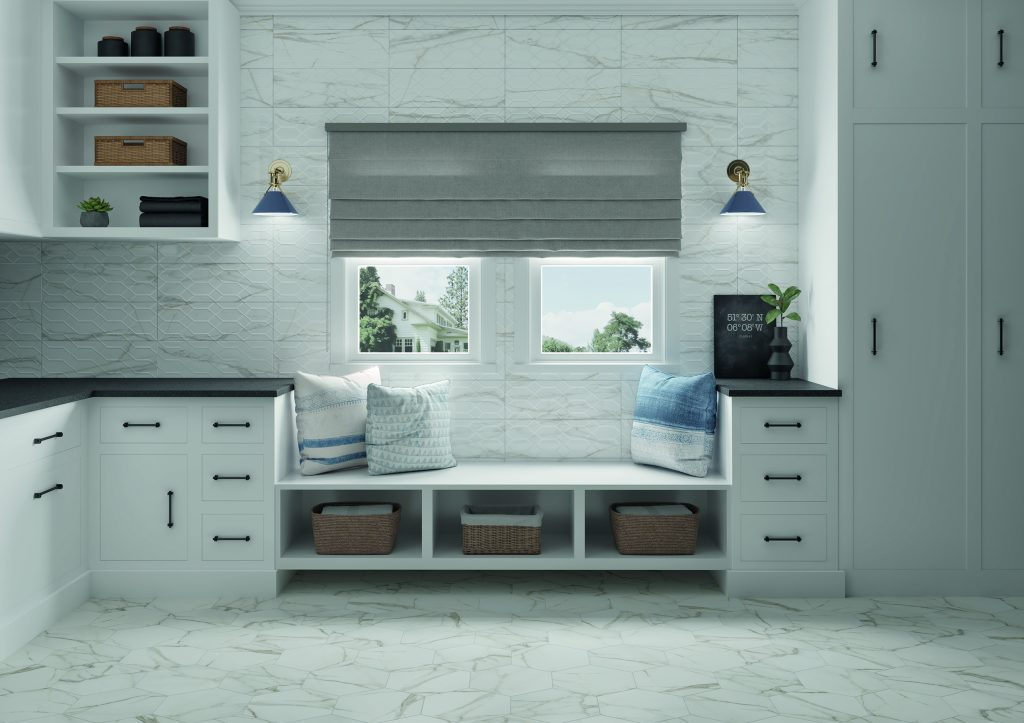 marble look tile in kitchen