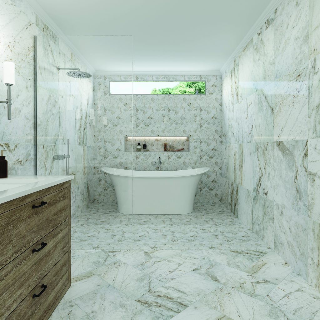 marble look tile in bathroom