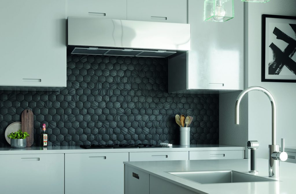 metal look hex tiles on kitchen backsplash