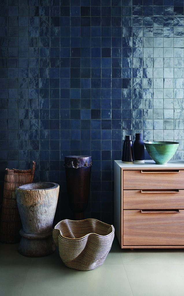 blue wall tile with handmade look