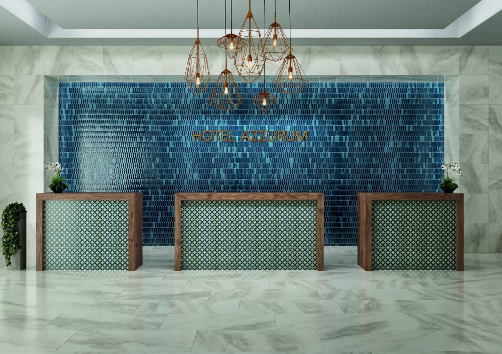 blue glass mosaics on lobby reception desk feature wall