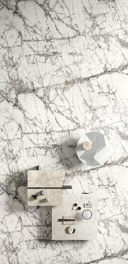 white marble look floor with prominent black veining