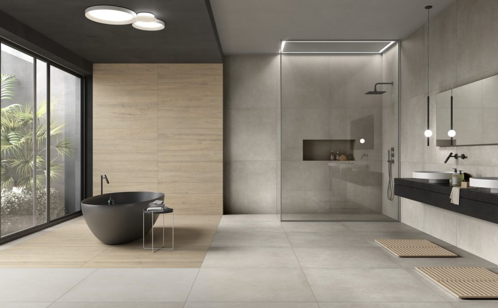 cement look large format tiles and panels