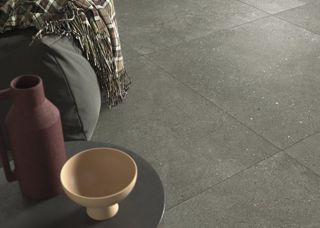 large format tiles that combine the look of stone and cement